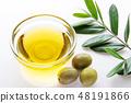 橄欖油和橄欖果實和葉子 48191866
