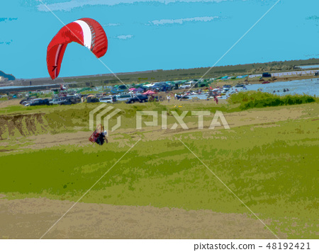 Motor Paraglider landing 48192421