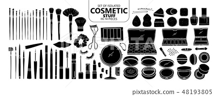 Set of isolated silhouette cosmetic stuff. 48193805