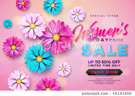 Womens Day Sale design with Beautiful Colorful Flower on Pink Background. Vector Floral Illustration 48193806