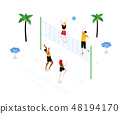 Beach volleyball - modern colorful isometric vector illustration 48194170