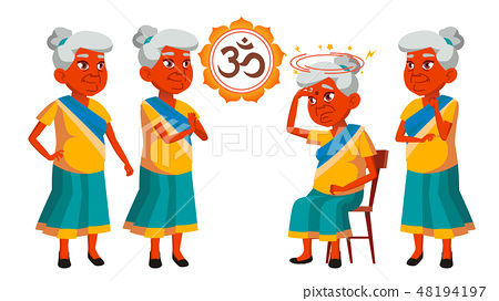 Indian Old Woman Poses Set Vector. Elderly People. Senior Person. Aged. Beautiful Retiree. Life 48194197