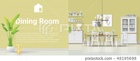 Interior background with dining room 48195698
