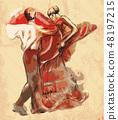 Spanish dancers. Vector illustration. Engraving. 48197215