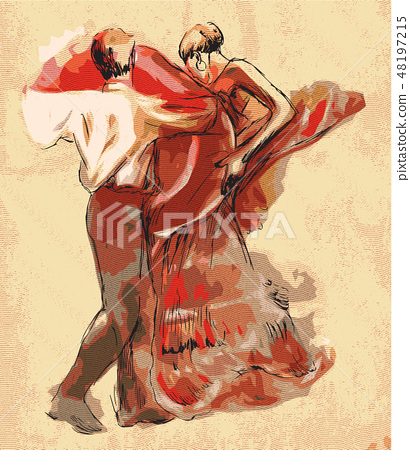 Spanish dancers. Vector illustration. Engraving. 48197215