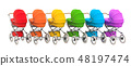 Row from colored baby strollers, 3D rendering 48197474