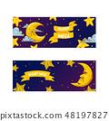 Cartoon moon vector moonlight star character in night sky illustration background childish yellow 48197827