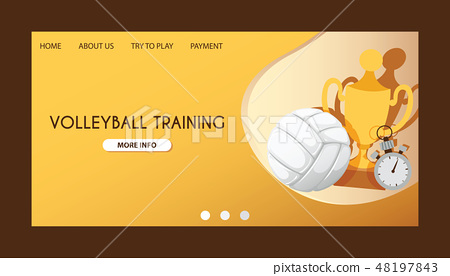 Ball vector landing page volleyball competition web-page background sportive equipment volley-ball