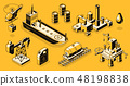 Oil industry objects isometric icons set 48198838