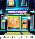 City restaurant facade at evening cartoon 48198903