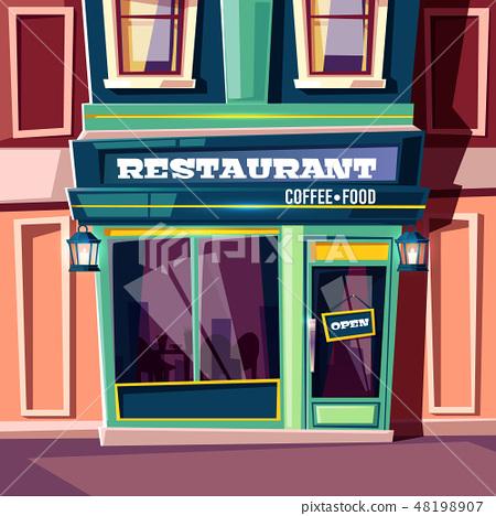 Street cafe in city house facade cartoon 48198907