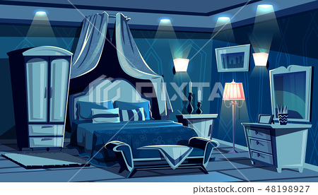 Bedroom in night with lamps light 48198927