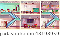 Modern co working office interiors cartoon 48198959