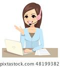 Operator Woman Working On Laptop 48199382