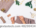 Flat lay composition woman's hands knitting  48200434