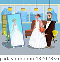 Young Lady in Wedding Dress Vector Illustration 48202856