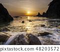 Sasagawa flowing evening scenery (Niigata) 48203572