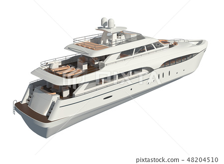 Yacht isolated on white background 3D illustration 48204510