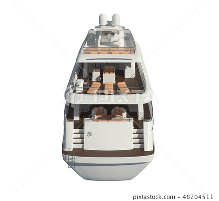 Yacht isolated on white background 3D illustration 48204511
