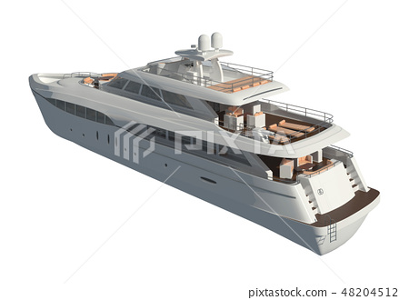 Yacht isolated on white background 3D illustration 48204512