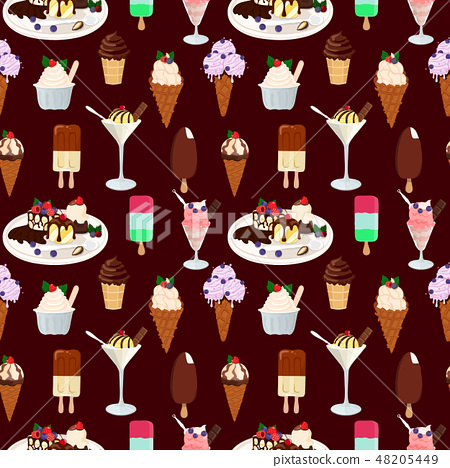 Seamless pattern with ice cream. Hand drawn seamless background. Vector Illustration 48205449