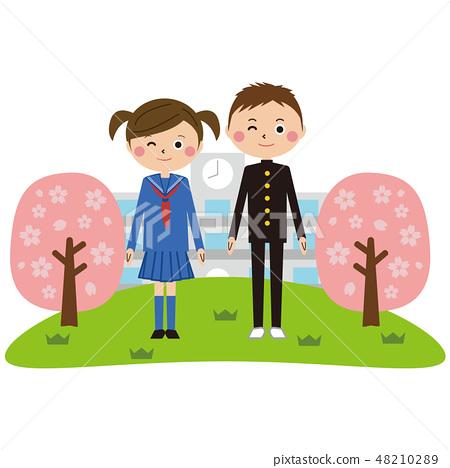 流行學校衣服男性和女性學校背景櫻花 48210289
