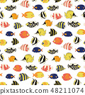 Exotic reef fish Seamless vector pattern tile 48211074
