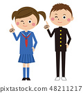 流行女学生服装男性和女性指向 48211217