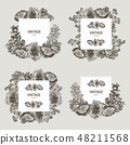 Beautiful card with a square frame with wreath of different plants of vintage garden and forest set 48211568