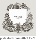 Beautiful card with a square frame with wreath of different plants of vintage garden and forest 48211571
