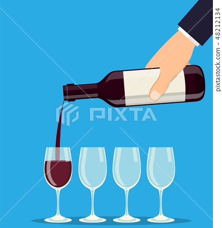 Pouring out red wine from a bottle in wineglasses 48212134