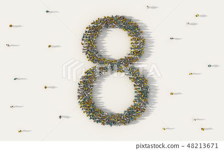 Large group of people forming number eight, 8, alphabet text cha 48213671
