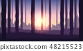 purple forest nature landscape backgound with sunshine 48215523