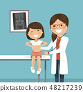 Pediatrician woman doctor examining a little girl 48217239