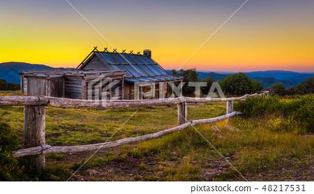 Sunset above Craigs Hut in the Victorian Alps, Australia 48217531