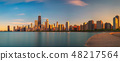 Chicago skyline at sunset viewed from North Avenue Beach 48217564