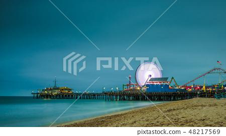 Santa Monica Pier at night in Los Angeles, California 48217569