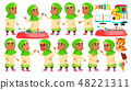 Arab, Muslim Girl Kindergarten Kid Poses Set Vector. Caucasian Child Expression. Activity. For 48221311