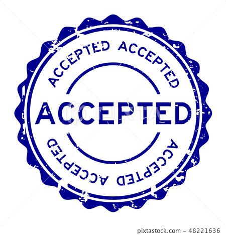 Grunge blue accepted word round rubber stamp 48221636