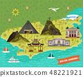 Rio de Janeiro, Brazil city map with landmarks 48221921