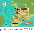 Landmarks, sightseeing places on map of Salvador 48221931