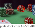 Red dice, casino chips, cards on green felt 48223580