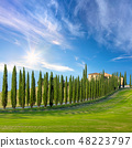 Sunny landscape of Tuscany countryside 48223797