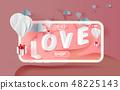 Paper art of white balloons gift floating 48225143