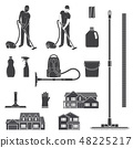 Cleaning icon silhouette for emblems and labels. Set include man with vocuum cleaner, eguipment 48225217