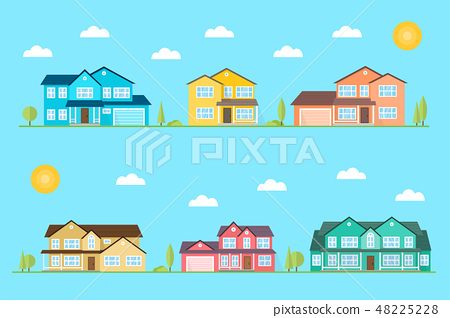Neighborhood with homes illustrated on the blue background. Vector flat icon suburban american 48225228