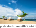 Beach chairs beautiful tropical sand Nature backgr 48225443