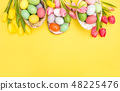 Easter eggs decoration colorful tulip flowers 48225476