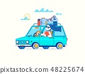 Riding on the machine. Happy woman rides in the car.Line vector illustration 48225674