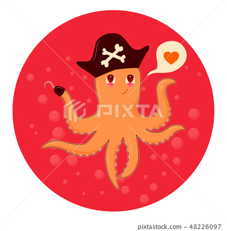 Cute cartoon octopus over water. Animal vector illustration. 48226097